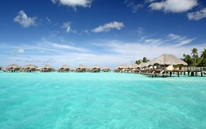 Картинка океан, отель, бунгало, Bora-Bora, tranquil, blue lagoon, pearl beach resort, water villas