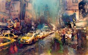 Картинка улица, краски, арт, New York City, мазки, Times Square