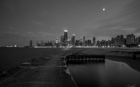 Картинка ночь, огни, здания, небоскребы, Чикаго, черно-белое, Chicago