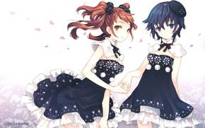 Обои девочки, Две, берет, подруги, платья, оборки, Persona 4, пелерина, бомбошки