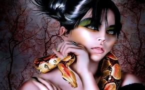 Картинка глаза, девушка, деревья, змея, кольцо, тени