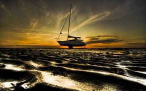 Картинка песок, небо, берег, Лодка, мель