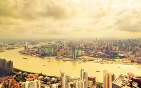 Картинка город, река, фото, небоскребы, Китай, Шанхай, мегаполис