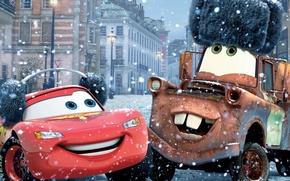Обои Walt Disney, зима, спорт, машины, Тачки 2, Cars 2, From Russia with love, Из России ...