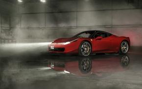 Картинка Ferrari, Red, 458, Front, Smoke, Italia, Wheels, Reflection, Ligth