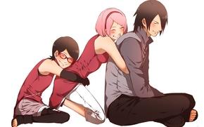 Картинка аниме, Сакура, семья, арт, девочка, Саске, Naruto