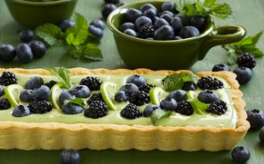 Картинка листья, черника, пирог, лайм, выпечка, ежевика