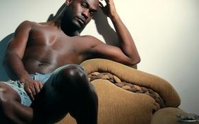 Картинка man, room, armchair, shadow, direct gaze
