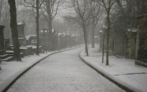 Картинка Paris, winter, morning, cemetery, under the snow, Père-Lachaise