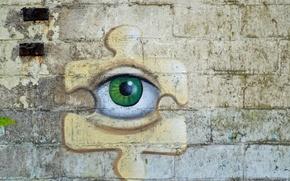 Картинка глаз, фон, стена