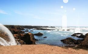 скала, море, солнце, волны, песок обои