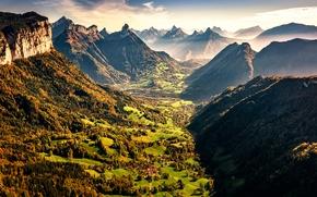 Картинка горы, дома, равнина, деревня, VALLEY