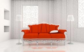 Обои королевский, диван, красный