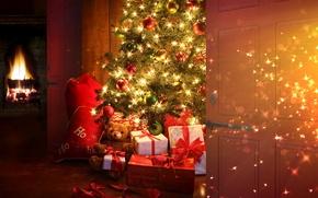 Картинка шарики, украшения, огни, стиль, комната, праздник, игрушки, рождество, интерьер, подарки, Новый год, ёлка, камин, шторы, …