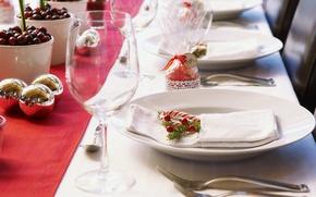 Обои стол, праздник, новый год, посуда, декорации, happy new year, новогодний, christmas decoration, новогодние обои, сервировка, ...