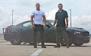 Картинка Dodge, charger, black, vin diesel, paul walker, fast five, додж, чарджер, чёрный