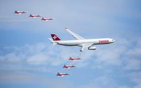 Обои небо, облака, самолет, Швейцария, парад, аэробус, А350