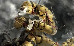 Картинка dirt, battlefield, gun, game, Warhammer, soldier, weapon, war, dust, death, shoot, film, rifle, suit, firing, …
