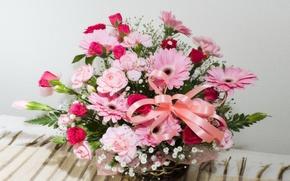 Обои цветы, корзина, лента, герберы, букет