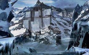 Картинка снег, горы, китай, строения