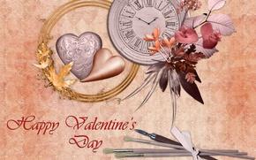 Картинка листья, любовь, цветы, сердце, часы, влюбленные, объем, открытка, валентин