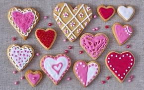 Обои праздник, выпечка, hearts, сердечки, печенье, глазурь, валентинки, cookies, love, valentines, glaze