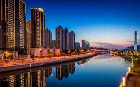 Картинка трубы, отражение, здания, зеркало, Китай, канал, Шанхай, улицы, краны