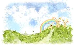 Обои радуга, сердечко, зайчики, холм, зайцы, рисунок, зелень, кавай, облака