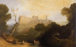 Картинка деревья, пейзаж, река, замок, гора, картина, Шотландия, Уильям Тёрнер, Дворец Линлитгоу