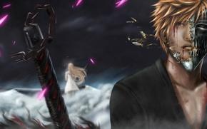 Картинка девушка, кровь, меч, парень, bleach, kurosaki ichigo, рукоятка, раны, inoue orihime