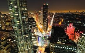 Картинка дорога, машины, ночь, здания, New York, Night, Park, Manhattan, Central