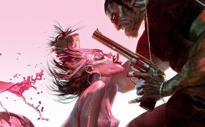 Картинка пистолет, розовый, злодей