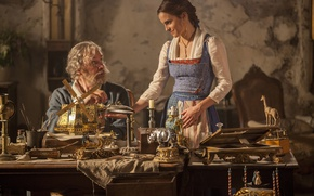 Обои cinema, Disney, Emma Watson, movie, film, Beauty and The Beast, fairy tale, Kevin Kline