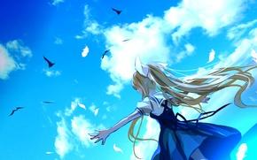 Картинка облака, радость, птицы, перья, длинные волосы, Air, сарафан, голубое небо, со спины, Высь, Kamio Misuzu