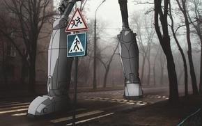 Картинка дорога, мультик, робот, изстали, ffff00, стальнойгигант