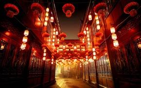 Картинка огни, улица, дома, фонари, Китай, Чэнду, Сычуань, Jinli Old Street