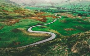 Картинка green, road, valley