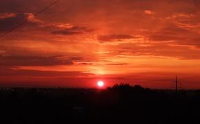 Картинка солнце, закат, оранжевое