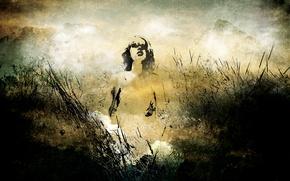Обои девушка, птица, трава