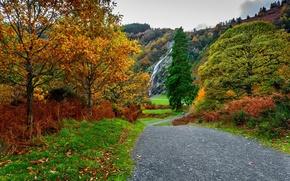 Картинка дорога, осень, лес, небо, листья, вода, облака, деревья, горы, природа, парк, colors, colorful, forest, road, …