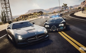 Картинка bugatti veyron, ghost, Need for Speed, nfs, police, mercedes sls, 2013, pursuit, Rivals, NFSR
