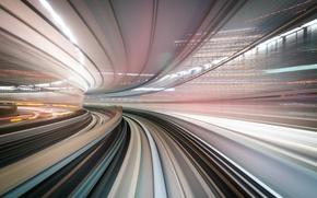 Картинка дорога, город, скорость, выдержка, тоннель
