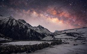 Картинка небо, звезды, снег, горы, ночь, вершины, Зима, млечный путь