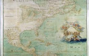 Обои старая карта, северная америка, карта