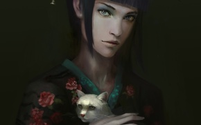 Картинка кошка, девушка, фон, рука, белая, кимоно, мрачно