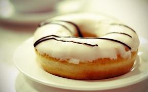 Обои кафе, булочка, еда, пончик, булка