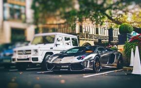 Картинка город, Англия, Лондон, Lamborghini, стоянка, гелик, Aventador, LP760-4, Oakley Design, AlRashed Carbon Edition