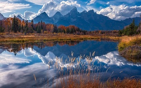 Картинка осень, горы, отражение, река, Вайоминг, Wyoming, Гранд-Титон, Grand Teton National Park, Скалистые горы, Snake River, ...