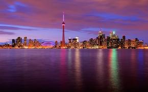 Картинка вода, ночь, огни, башня, Канада, Торонто