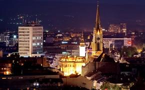Картинка ночь, город, огни, дома, Сербия, Novi Sad